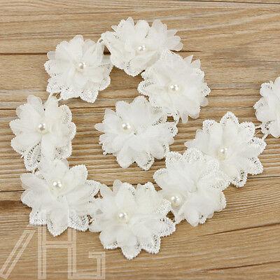 50X Vintage Flower Pearl Lace Edge Trim Wedding Ribbon Applique DIY Sewing Craft