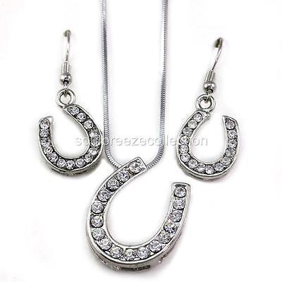 Lucky Western Cowboy Cowgirl Horseshoe Pendant Necklace Dangle Earring Set q1