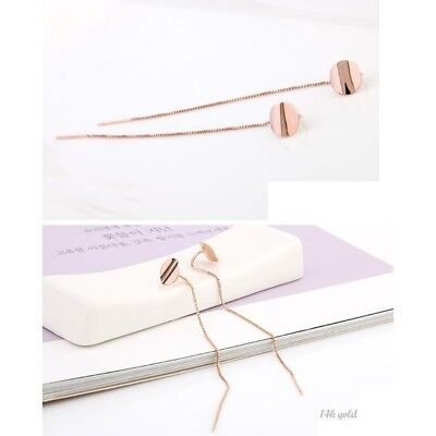 14K Solid Rose Gold Michelle Long Drop Threader Two Way a Pair of Earrings TPD