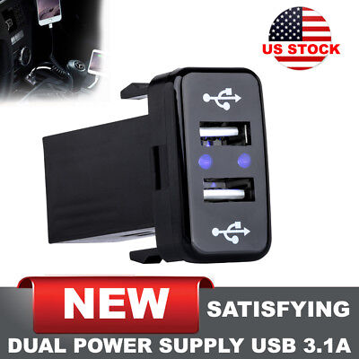 Dual USB Charger Voltmeter Rocker Switch SUV Car Boat Blue LED 12V 3.1A US stock