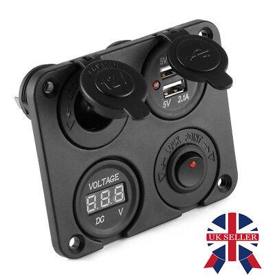 DC 12V-24V Car Boat Cigarette Lighter Socket Dual USB Charger Voltmeter UK