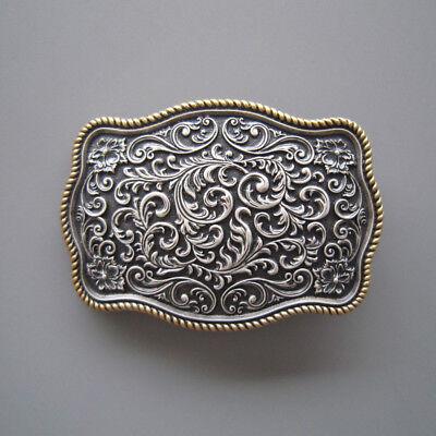 Western Gold/Silver Carved Flower Pattern Metal Belt Buckle