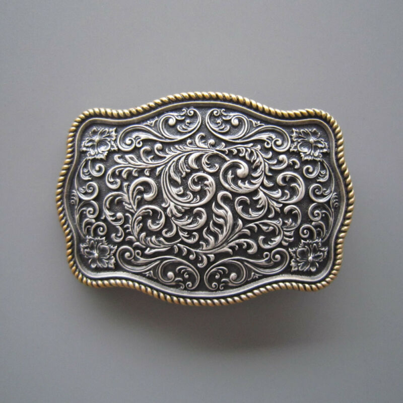 Western Gold/Silver Carved Flower Pattern Metal Belt Buckle