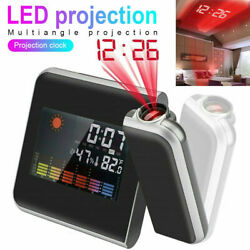 Projection Digital Weather LCD Snooze Alarm Clock Color Display LED Backlight KK
