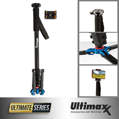 Studio DSLR Camera Monopod with Tripod Stand Base and Phone Holder Head