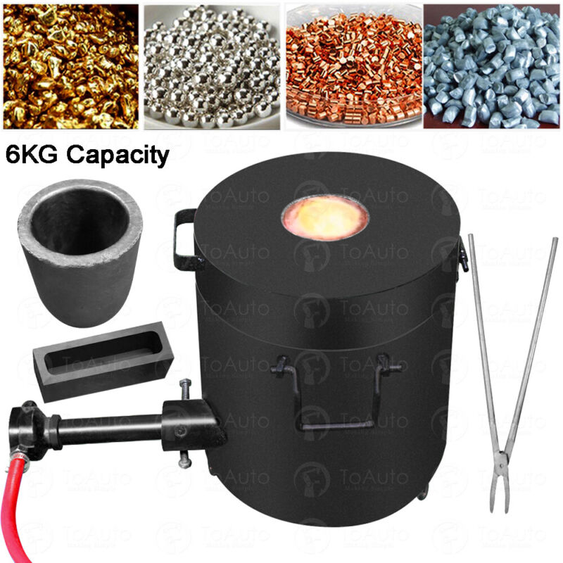 6KG Gas Melting Furnace Kit Propane Forge Metal Copper Gold Silver Casting Tool