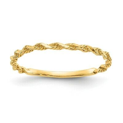 Gold Diamond Rope Ring (Genuine 14k Yellow Gold Diamond-cut Textured Rope Band Ring  0.72)