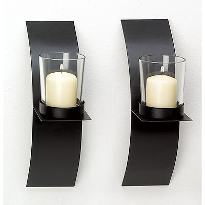 - NEW Modern Art Candle Holder Wall Sconce Plaque Set Of Two