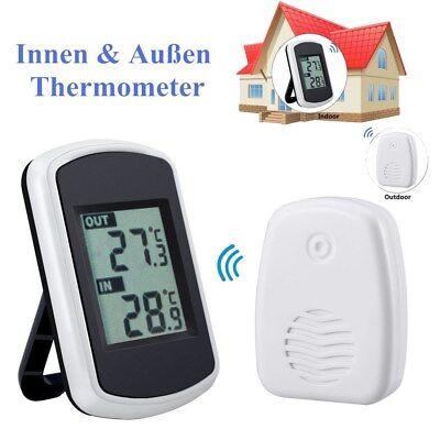 LCD Digital Thermometer Wetterstation Innen Außen Funk Temperatur Meter Station