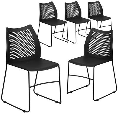 5 Pk. Hercules Series 661 Lb. Capacity Black Sled Base Stack Chair With...
