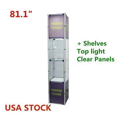 81.1 Square Portable Aluminum Folding Twister Tower Display Case Rack-us Stock