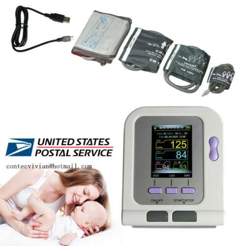 FDA Digital Blood Pressure Monitor upper Arm NIBP Machine Adult/ Pediatric cuffs