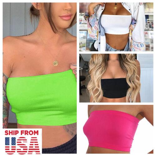 Women Tube Top Bra Seamless Bandeau Strapless Bralette Stretch Solid Crop Top