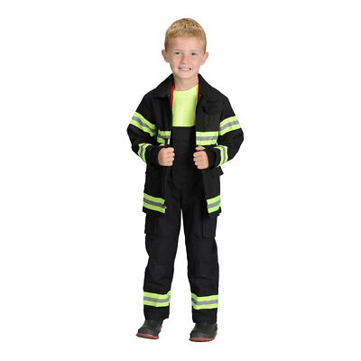 Aeromax Jr. Child Fire Fighter Bunker Gear, Black, Boys Costume