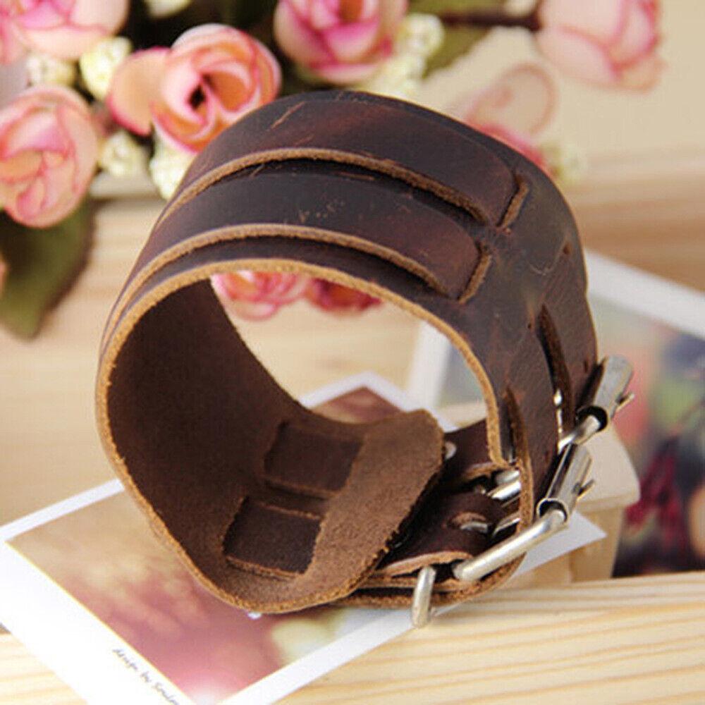 Men's Wide Leather Belt Strap Buckle Adjustable Cuff Bangle Wristband Bracelet Bracelets
