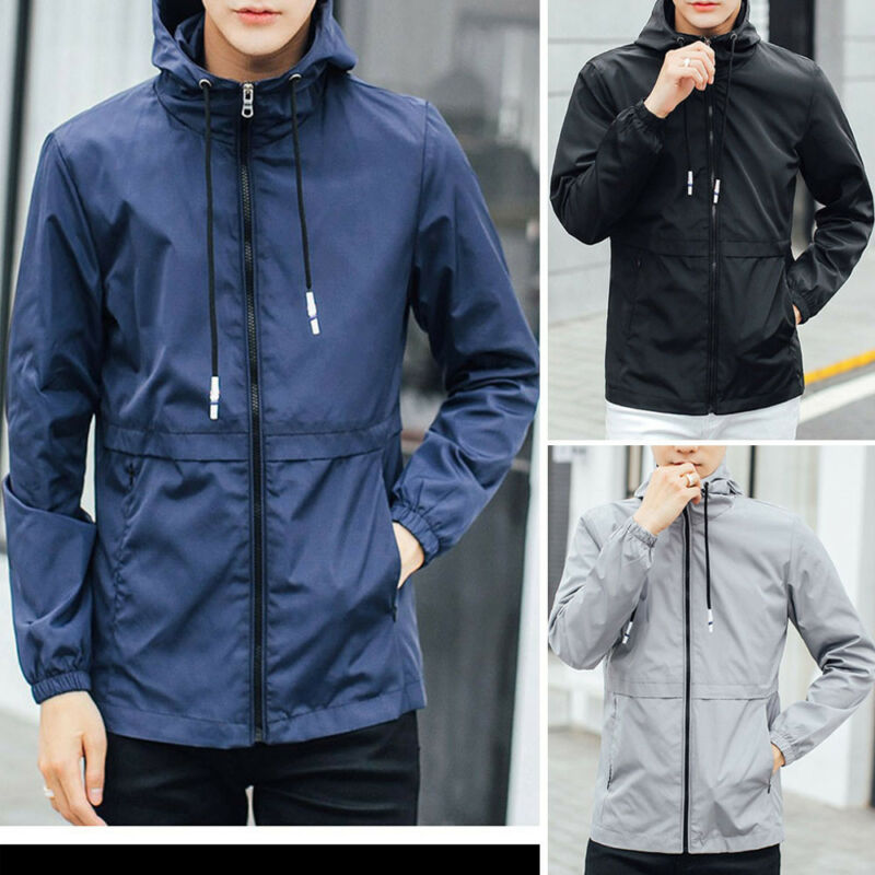 Men's Winter Hoodie Shell Solid Patchwork Waterproof Windproof Outdoor Jacket