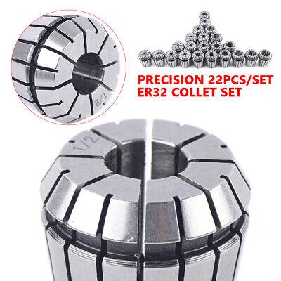 22 Pcs Er32 Cnc Milling Tool Lathe Engraving Kit Precision Spring Collet Set New