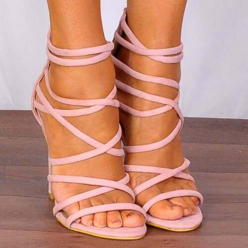 13cf71d4ee0f1 BABY LIGHT PINK STRAPPY SANDALS PEEP TOES STILETTOS HIGH HEELS SHOES SIZE  3-8