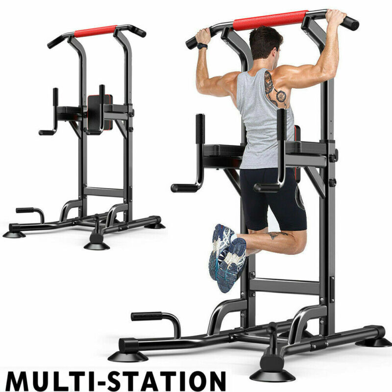 Dip Station Stand Power Tower Pull up Chin up Bar Fitness Exercise Equipment US