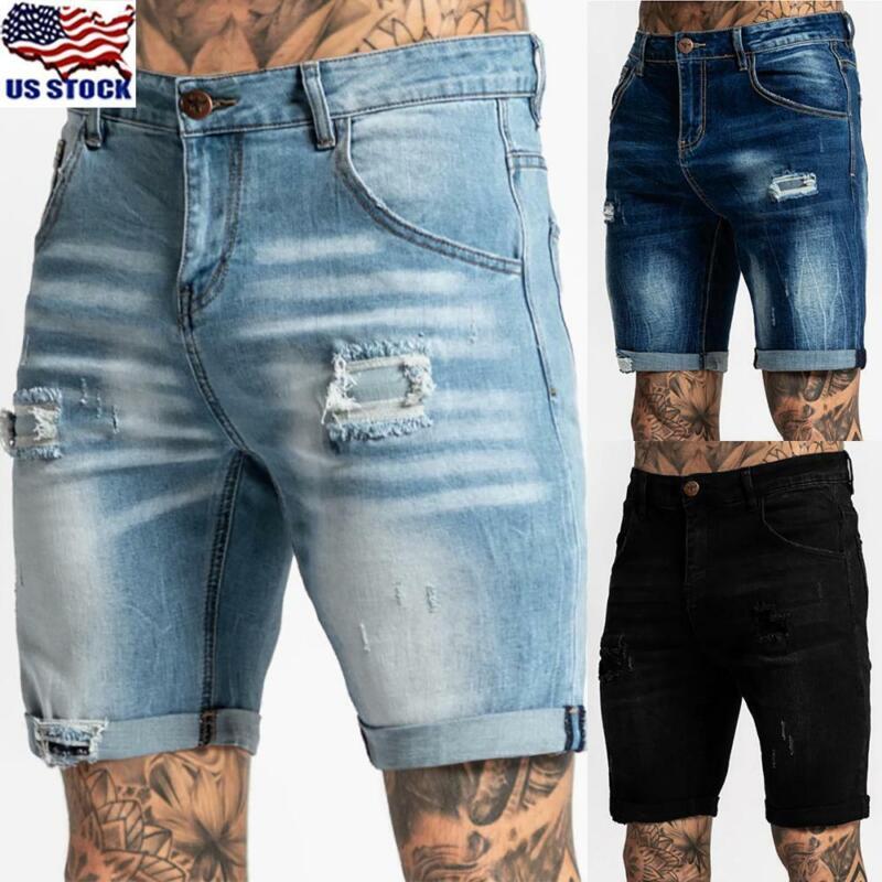 Mens Denim Shorts Ripped Distressed Skinny Slim Fit Stretch Half Jeans Pants US