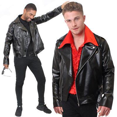 LEATHER LOOK BIKER JACKET MENS FANCY DRESS COSTUME ACCESSORY NEGAN S M L XL 2XL