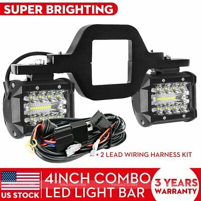 Tow Hitch Mounting Bracket+3-row LED Tow Lights Pods Backup Reverse 4''For Truck