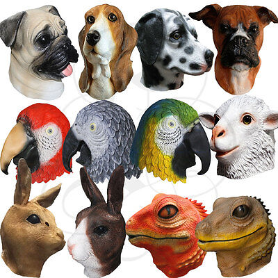 Latex Tiere Kopf Einhorn Papagei Hunde Bär Karneval Requisiten