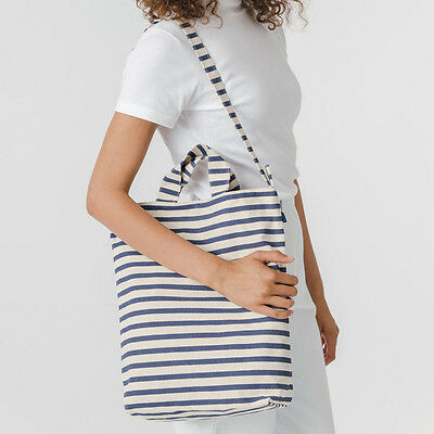 NEW BAGGU Canvas Reusable Crossbody Tote bag Navy Natural Nautical Stripes for sale  Canada