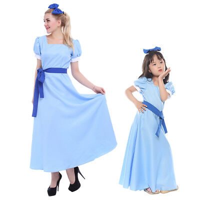 Wendy Costume (Peter Pan Wendy Darling Blue Cosplay Costume Adults / Kids Dress +)