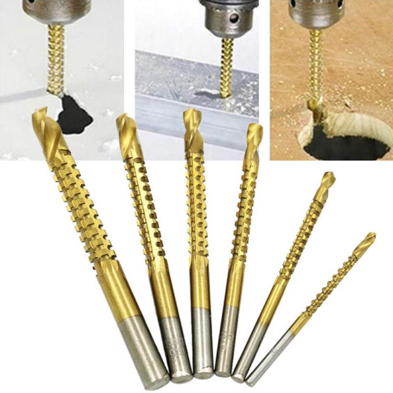 6 x HSS Titanium Coated Drill Bit Tool Set Woodworking Cutting Tools 3-8mm New