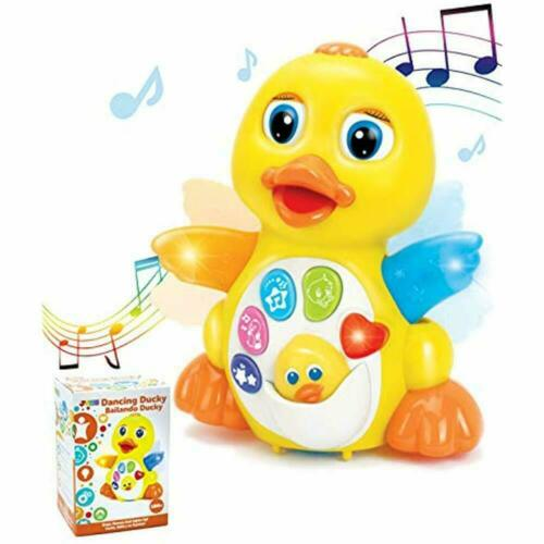 Dancing Musical Toys Walking Yellow Duck Baby LED Light Up F