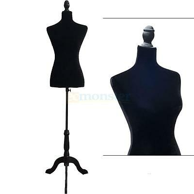 Female Mannequin Torso Dress Form Display W/ Black Tripod Stand Black New