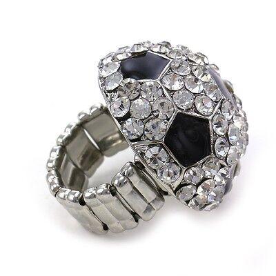 Charm Silver Sports Jewelry Band - Soccer Sports Ring High Polish Silver Tone Black Enamel Adjustable Band Charm c1
