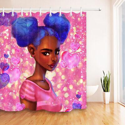 Heart Shower Curtain (US Fabric Shower Curtain Set Valentine Pink Hearts African Girl Bathroom)