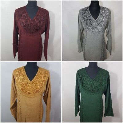 Embroidered Full Sleeve V Neck Velvet Rayon Classic Tunic Top Blouse 12 14 16 - Full Sleeve Top