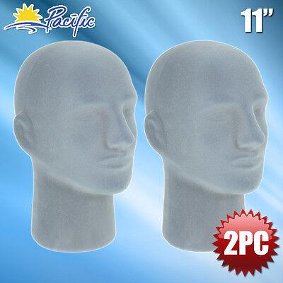 New Male Styrofoam Foam Grey Velvet Mannequin Head Display Wig Hat Glasses 2pc