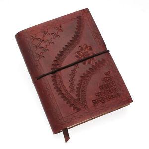 Fair Trade Handmade Medium Chocolate Brown Embossed Leather Journal Notebook