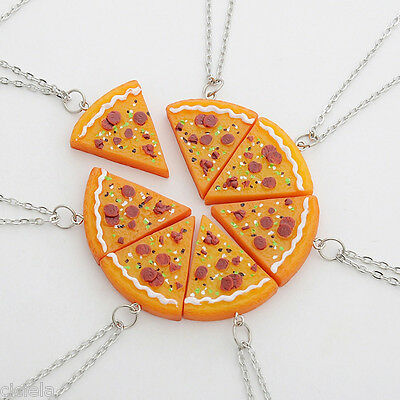 BEST FRIENDS 1Pc Slice Pizza Charm Pendant Chain Necklace Friendship - Friends Necklace
