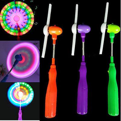 1x Blinklicht Up LED Spinning Windmühle Glüht Kind Spielzeug Musik Geschenk YR