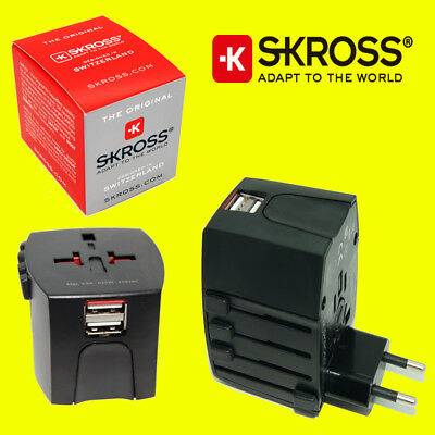 Skross MUV World Travel Adaptor Converter Plug & USB Charger NEW - Black