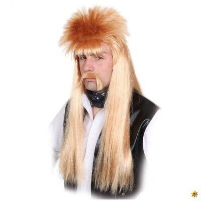 Vokuhila Perücke Manni rot-blond Bart 80er Jahre Männerperücke - 80er Jahre Perücke Männer