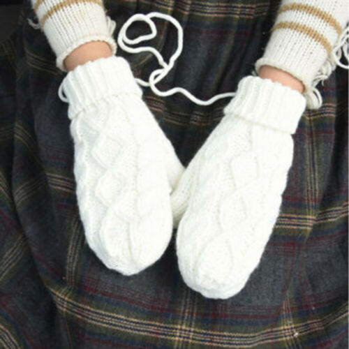 Lady Outdoor Warmer Cable Knit Woolen Full Finger Gloves Str