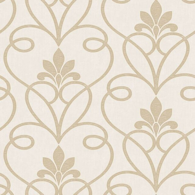TUSCANY CREAM GOLD DAMASK PATTERNED TEXTURED VINYL DESIGNER WALLPAPER FD40463