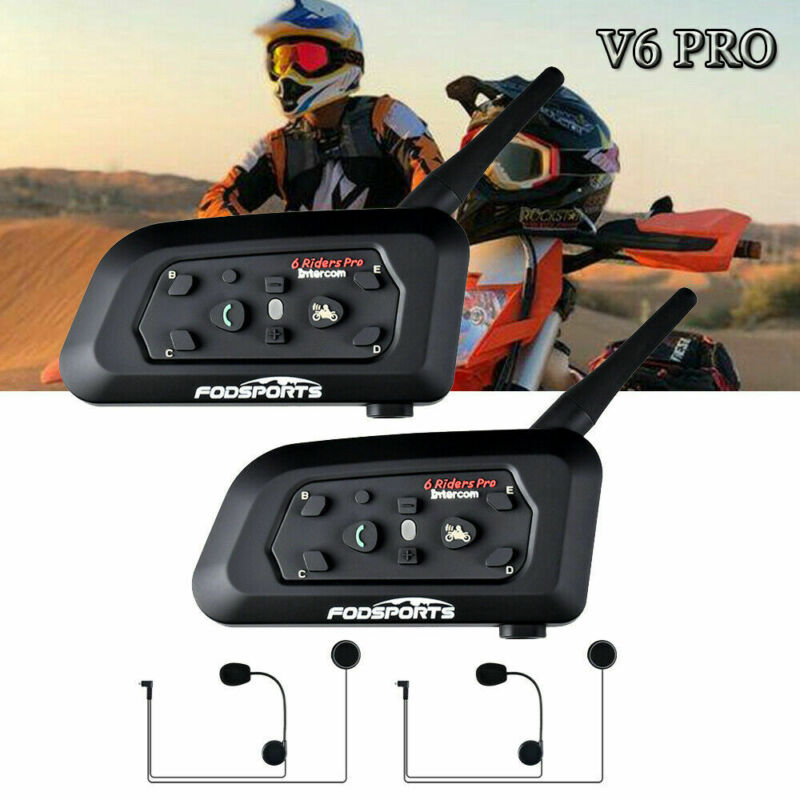2X V6 1200M Motorcycle Bluetooth Helmet Intercom Headset Communication System