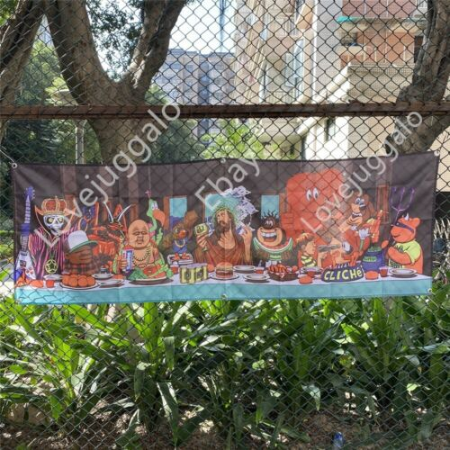 World Industries Skateboard Banner Cliche Last Supper Flag Tapestry Poster 2x6ft