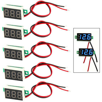 5pcs Mini Blue Dc 0-30v Led Panel Voltmeter 3 Digital Display Voltage Meter Fast