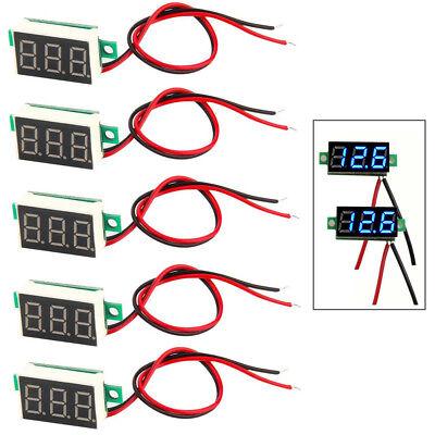 5pcs Mini Blue Dc 0-30v Led Panel Voltmeter 3 Digital Display Voltage Meter Fast