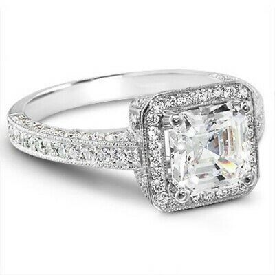 2.25 ct. Asscher Cut Halo Micro Pave Diamond Engagement Ring GIA I, VS1 18k WG 6