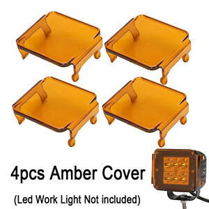 "4pcs Amber LED Cover for Len Work Driving Light Off Road 3x3"" 18W 24W cube pods"