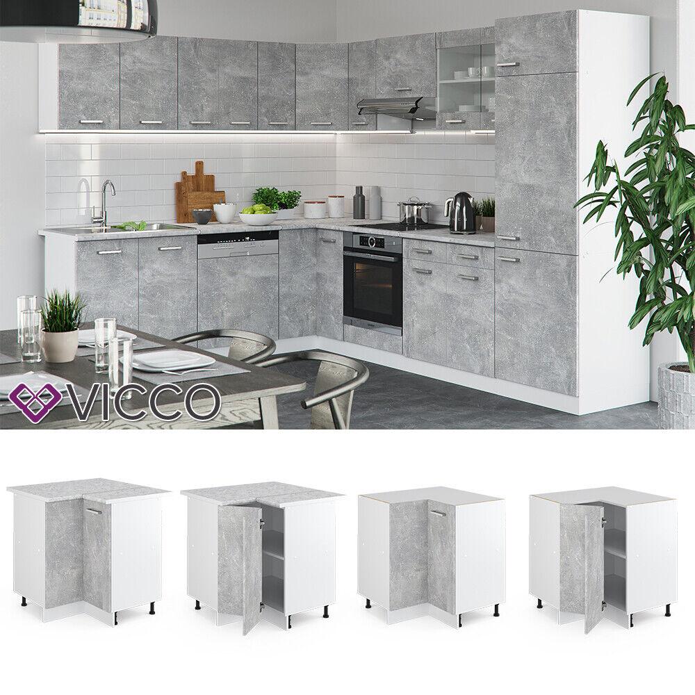 VICCO Küchenschrank Hängeschrank Unterschrank Küchenzeile R-Line Eckunterschrank 87 cm beton